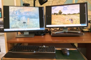 laptop with two monitors